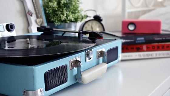 blue turntable vinyl record
