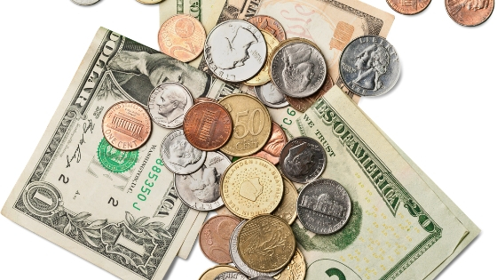 different kinds of money bills and coins